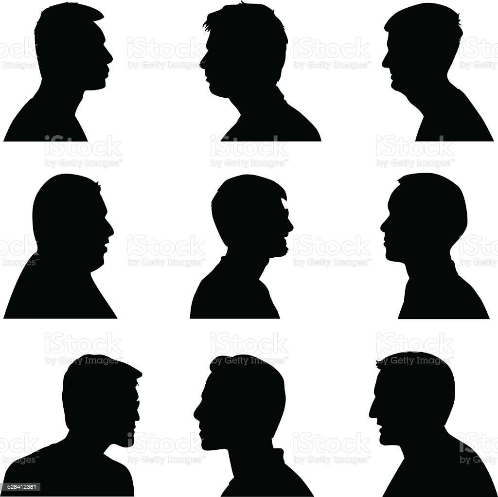 Men Silhouette Profiles vector art illustration