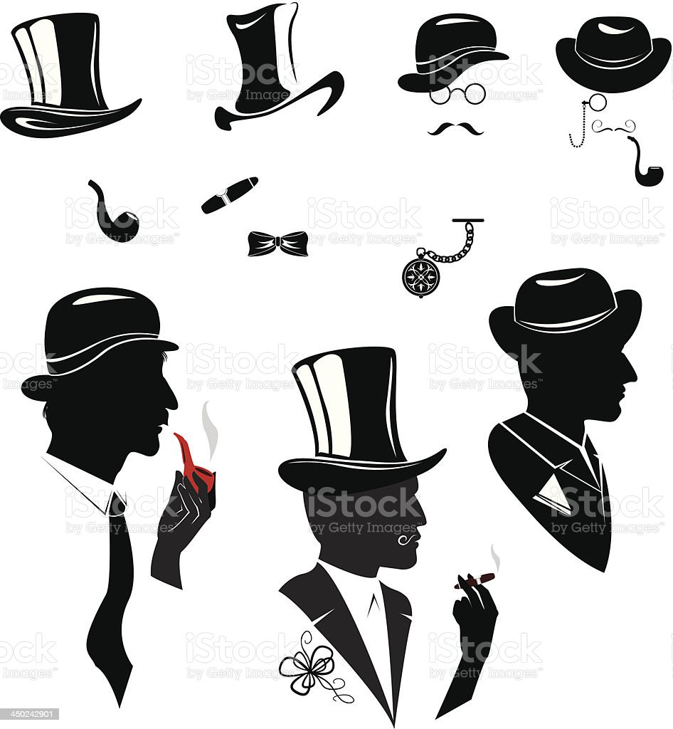 Men silhouettes smoking cigar and pipe in vintage style vector art illustration