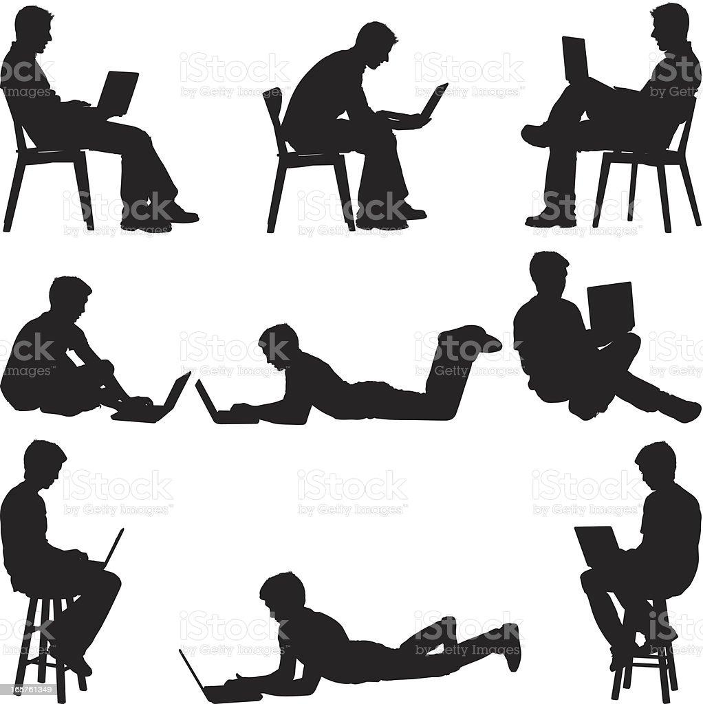Men sitting at home using laptops vector art illustration