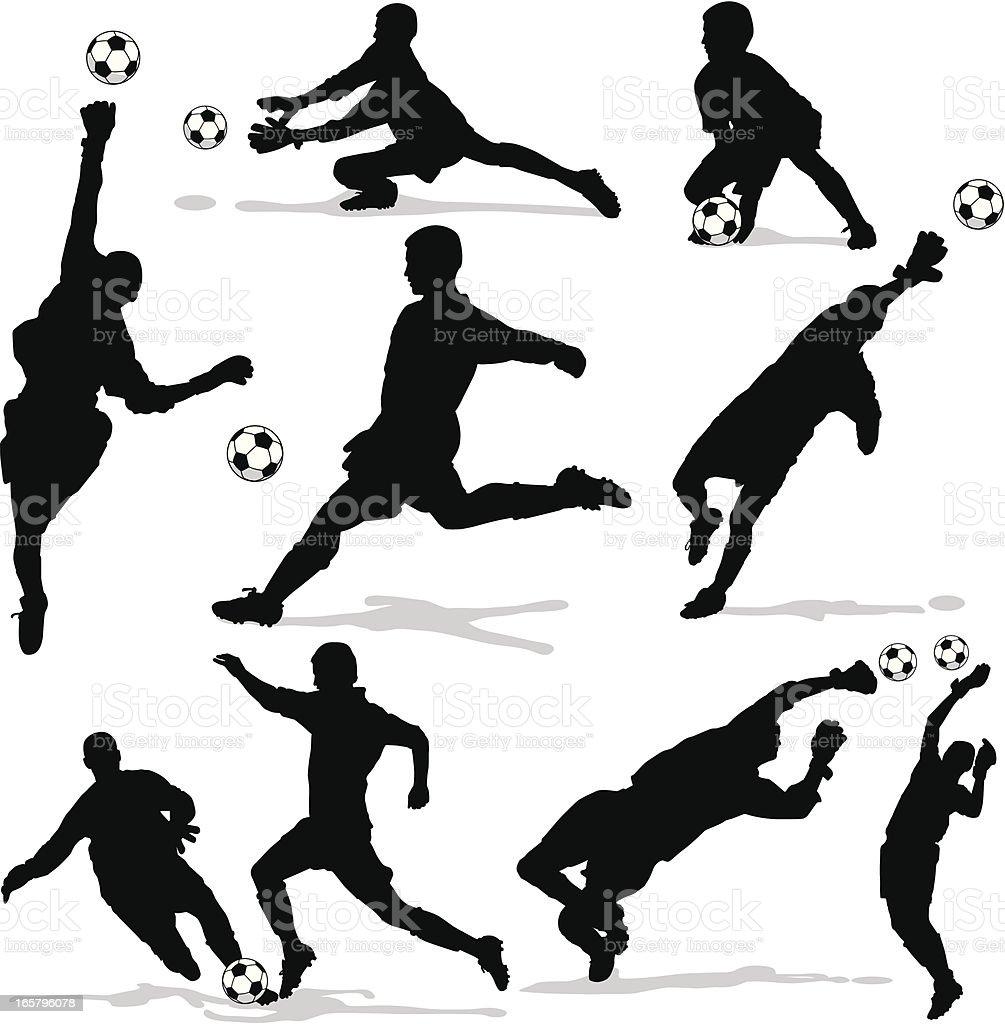 Men Soccer Goalie Silhouettes royalty-free stock vector art