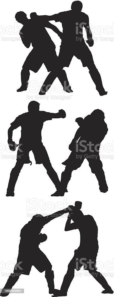 Men sparring mixed martial arts royalty-free stock vector art