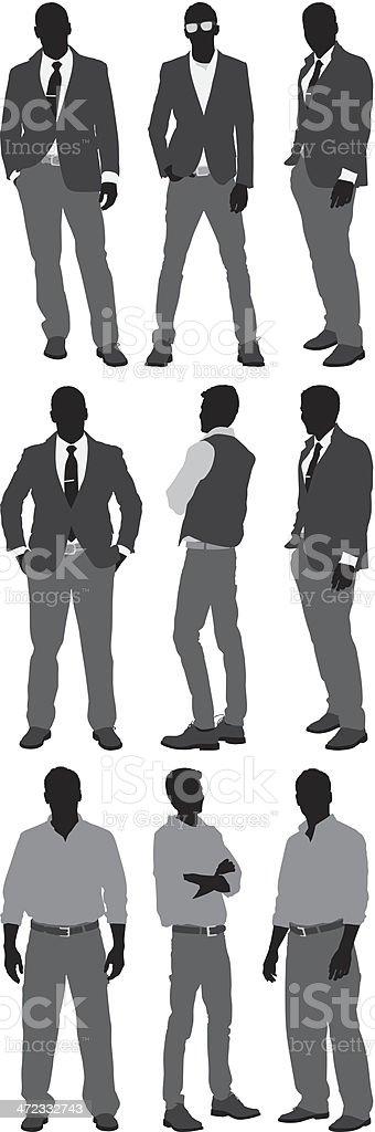 Men standing in different poses vector art illustration