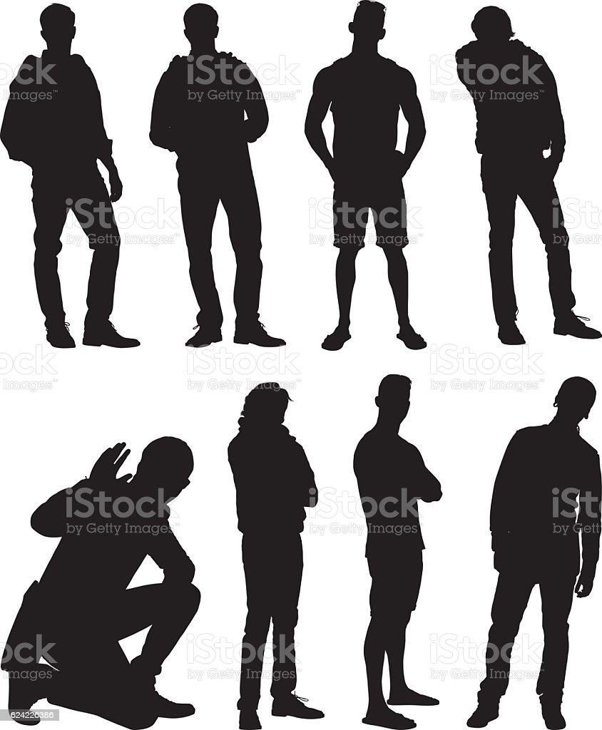 Men standing in various action vector art illustration