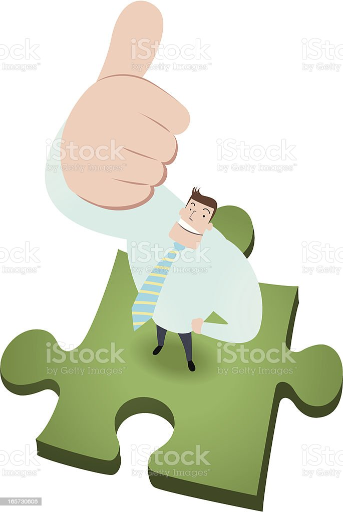 Men Standing On Green Jigsaw Solution And Gesturing Thumbs Up royalty-free stock vector art
