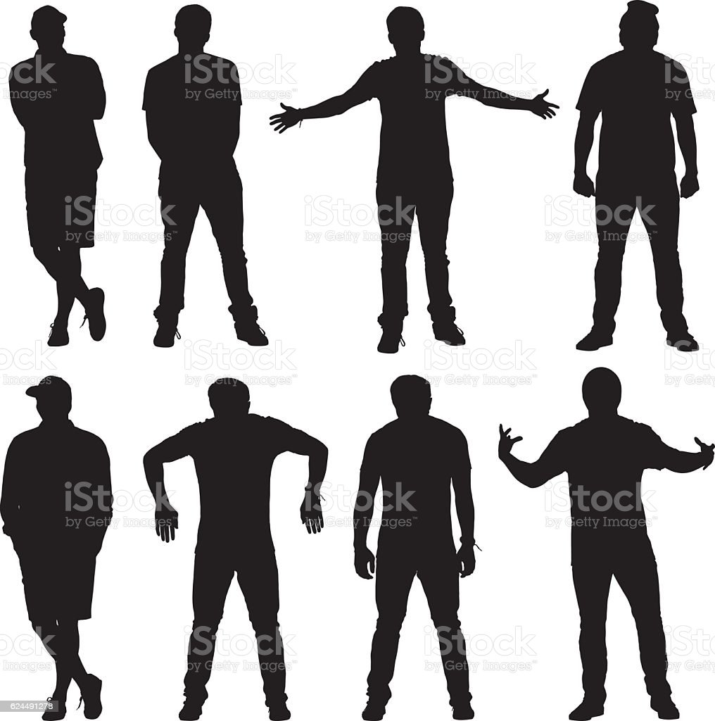 Men standing with various action vector art illustration