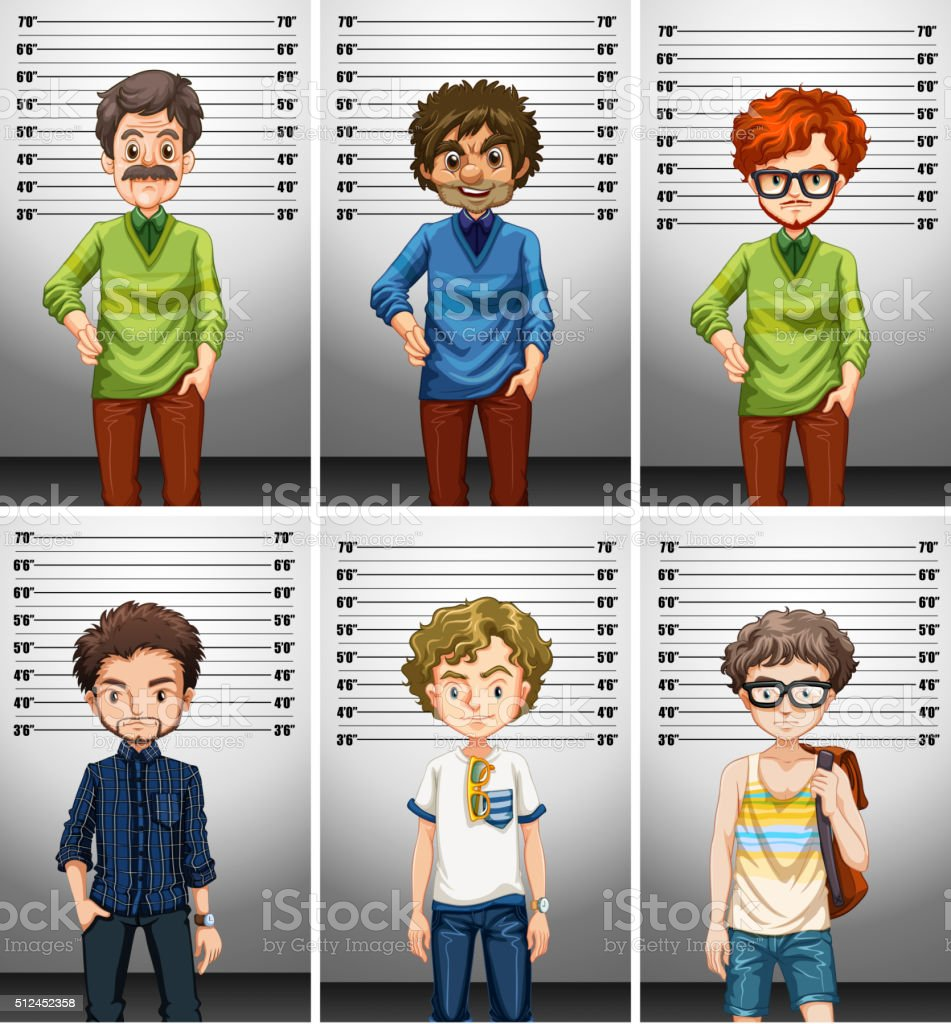 Men taking picture of ID vector art illustration