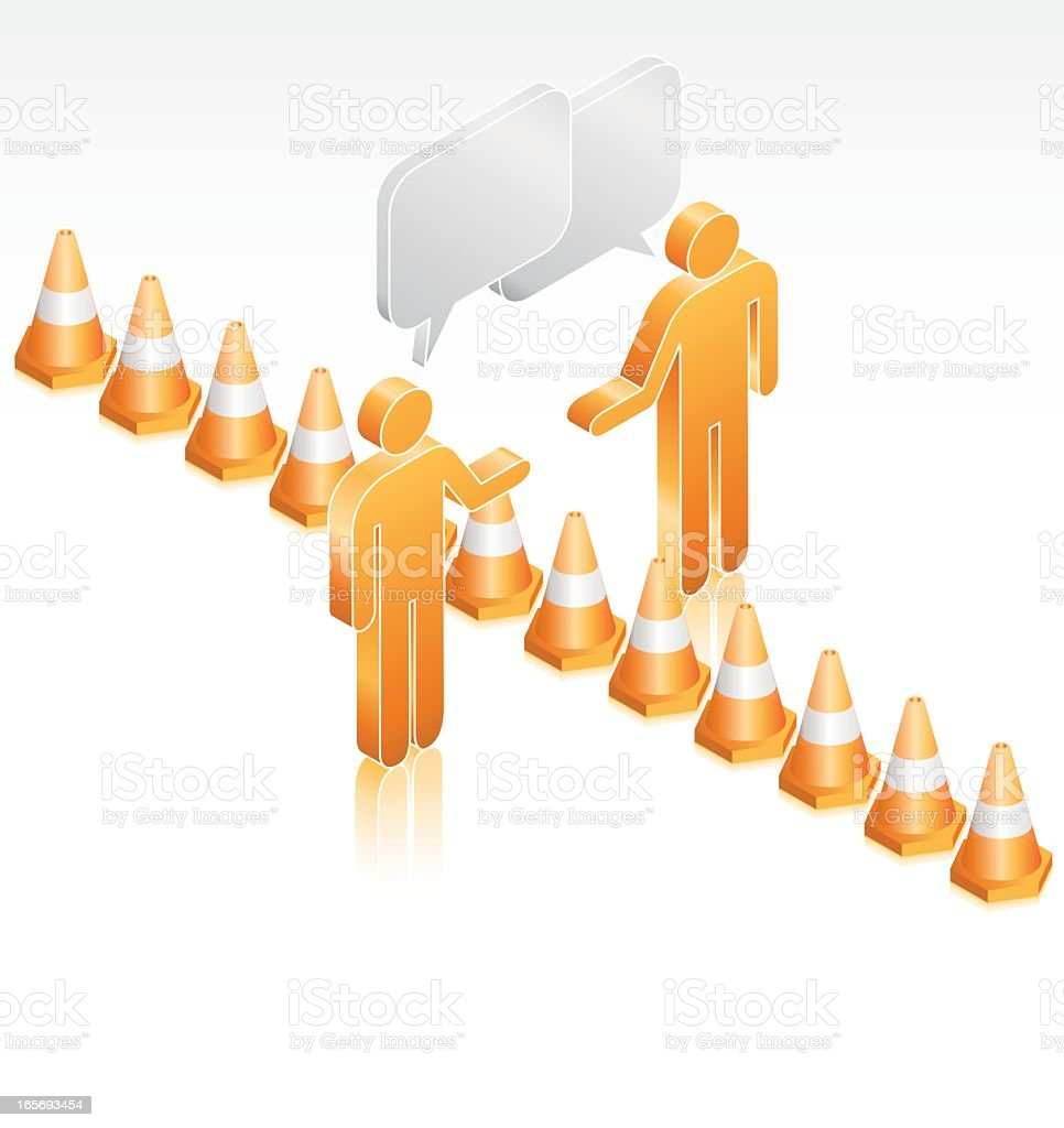 Men Talking Over a Barrier of Traffic Cones royalty-free stock vector art