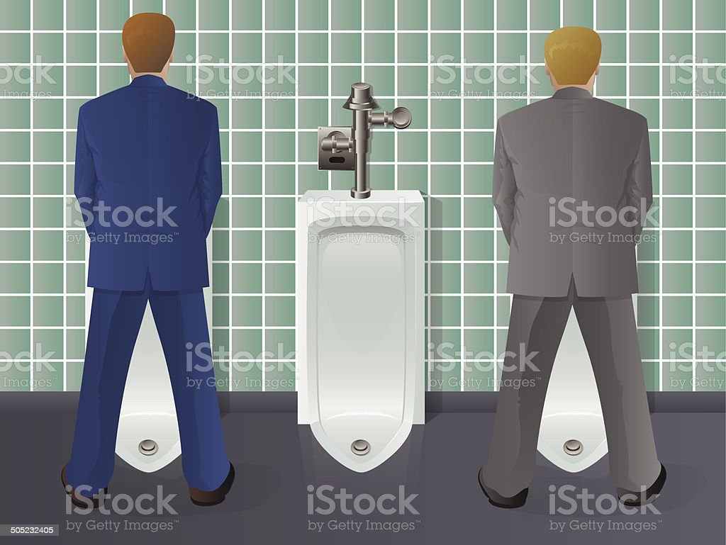 Men Using Urinal vector art illustration