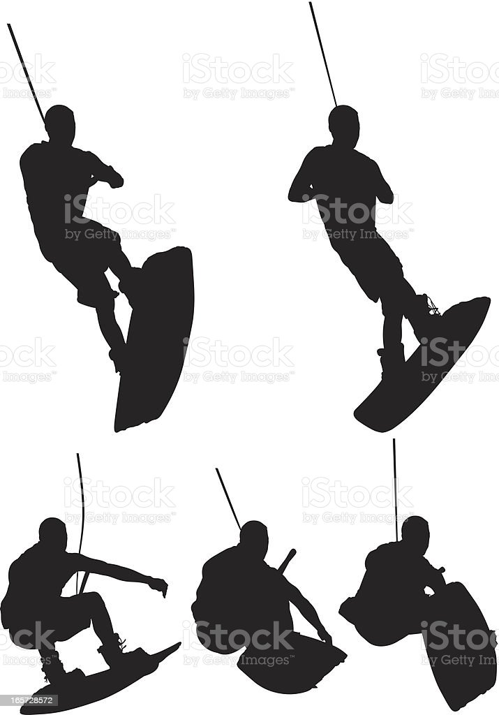 Men wakeboarding royalty-free stock vector art