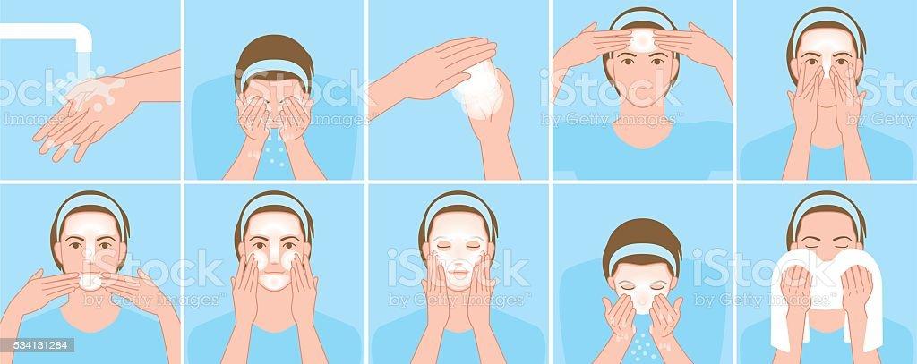 Men wash the face vector art illustration