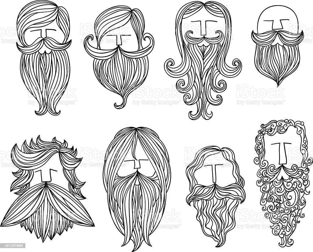 Men with different style of mustache vector art illustration