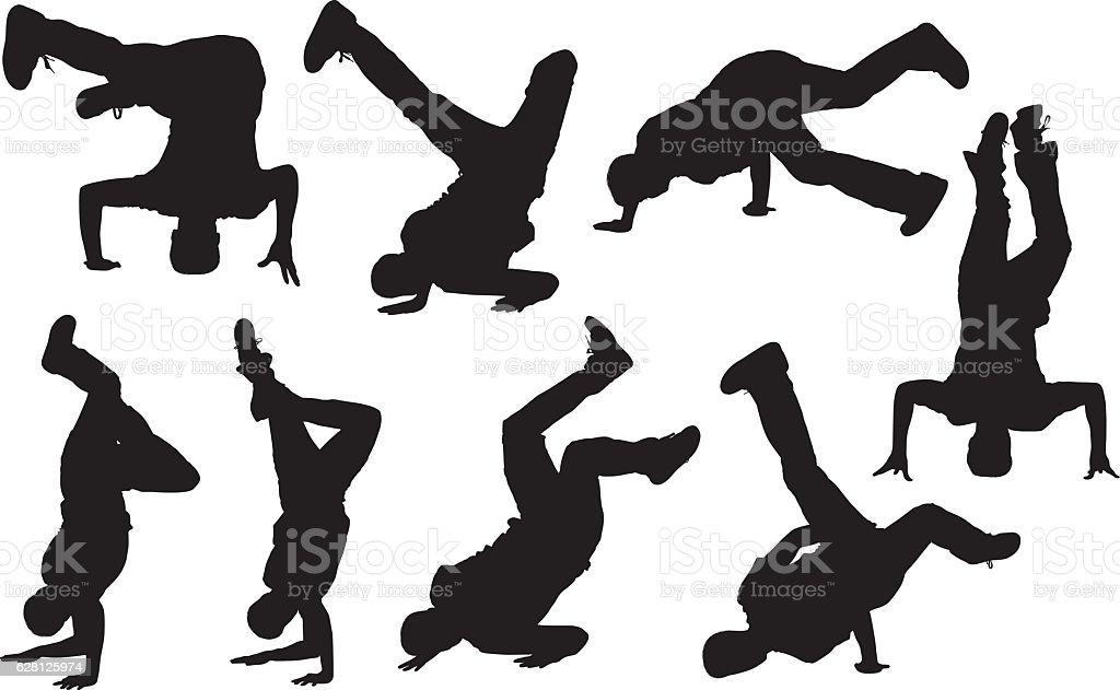 Men with handstand vector art illustration