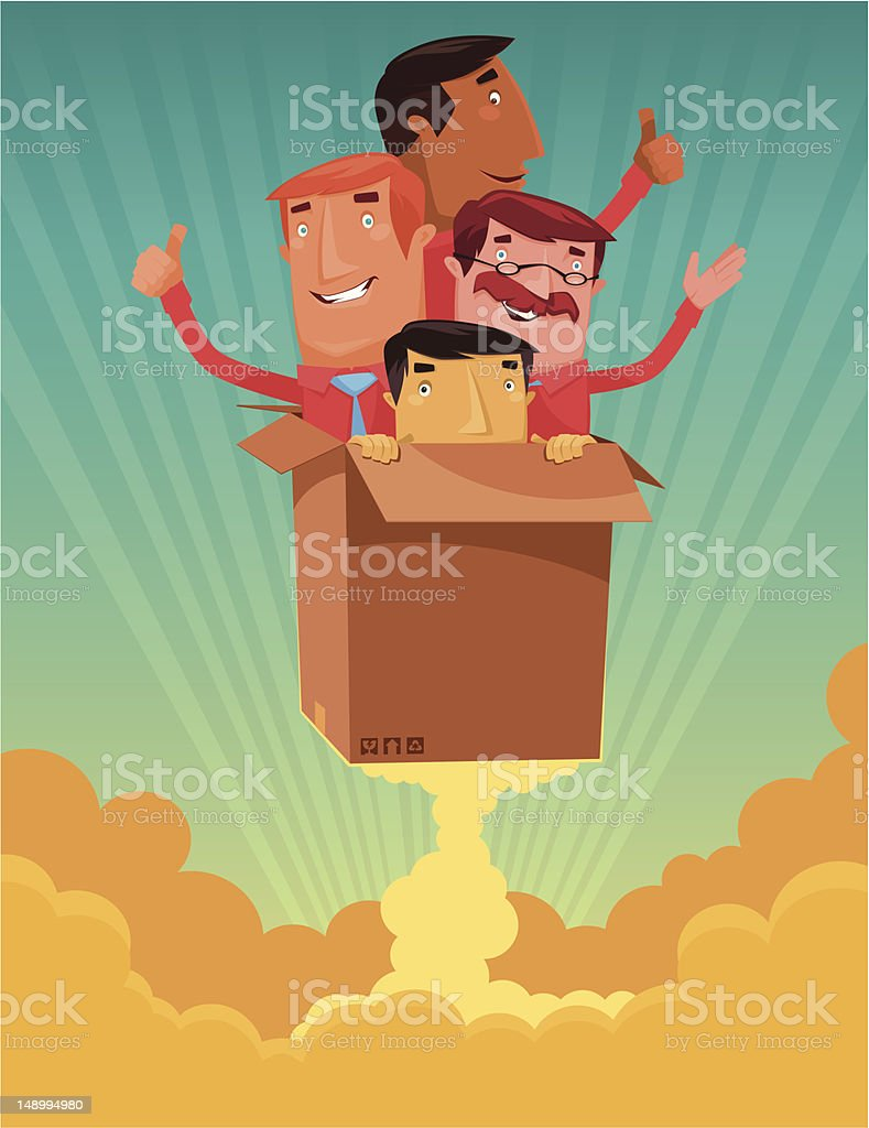 men with launching carton vector art illustration