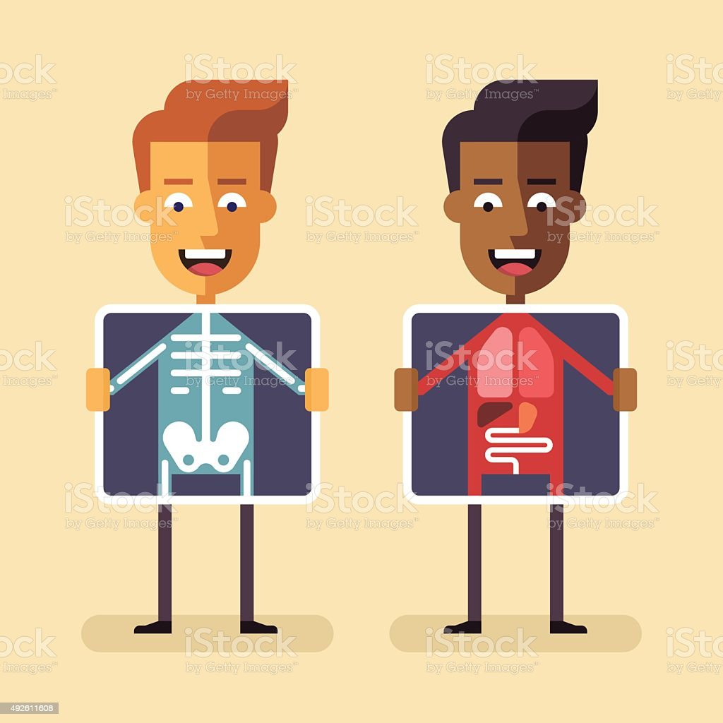 Men with xray screen showing their organs vector art illustration