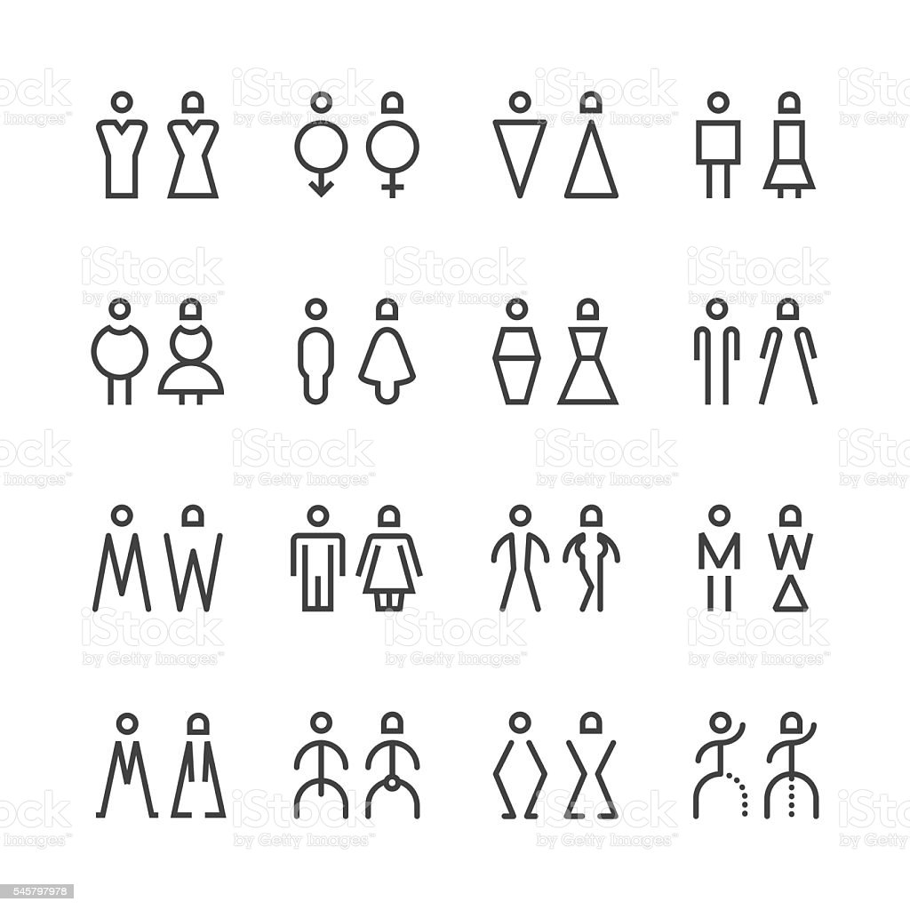 Men & Women Icon - Line Series vector art illustration