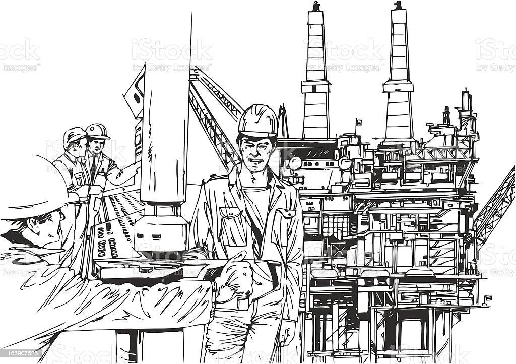 Men working on a oil platform vector art illustration