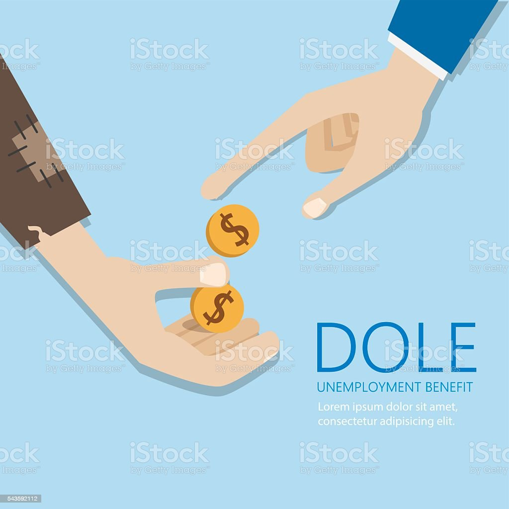 Mendicant's hand and money. Dole and unemployment benefit concep vector art illustration