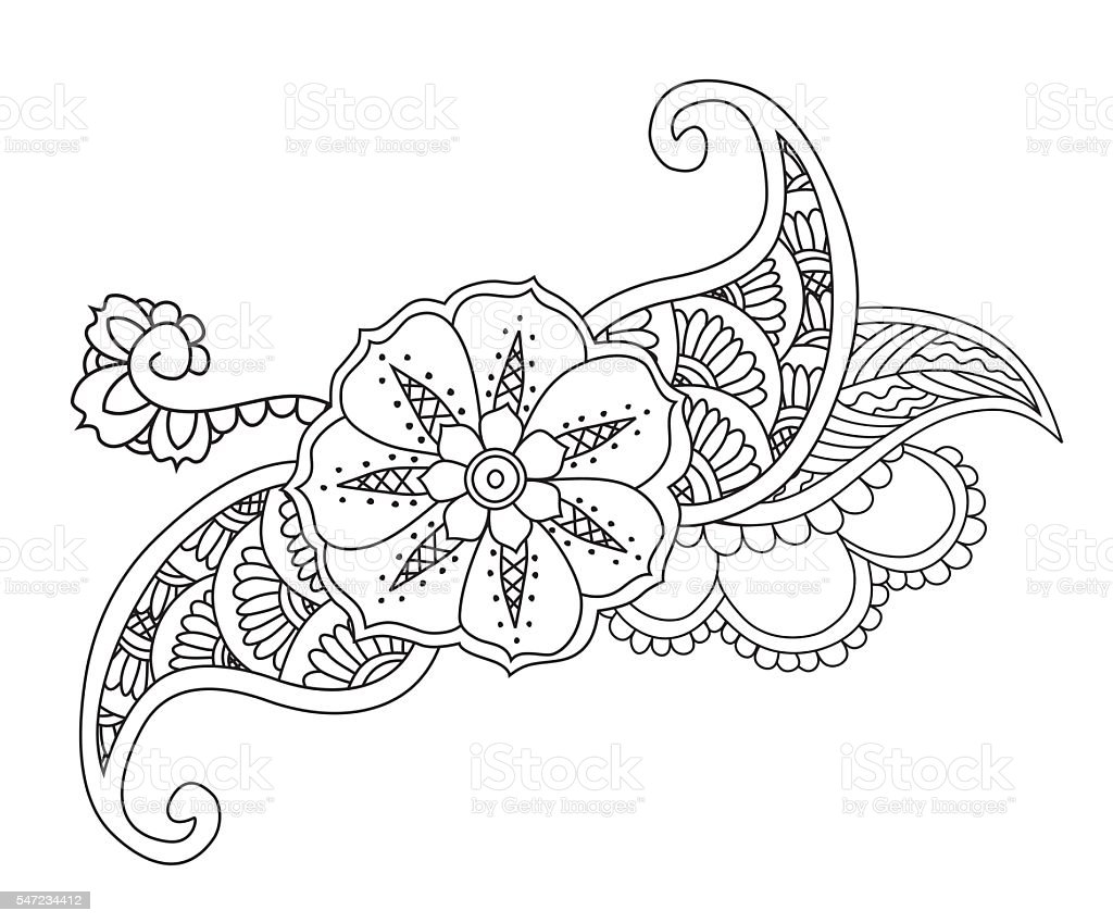 Mendie floral tattoo design isolated. vector art illustration