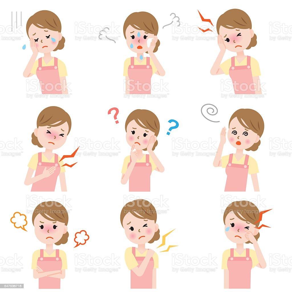 menopause symptoms vector art illustration