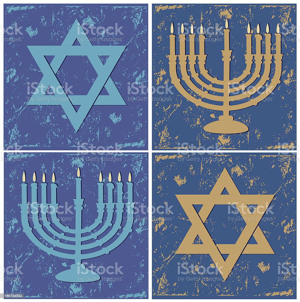 Menorah and Star of David , Hanukkah vector art illustration