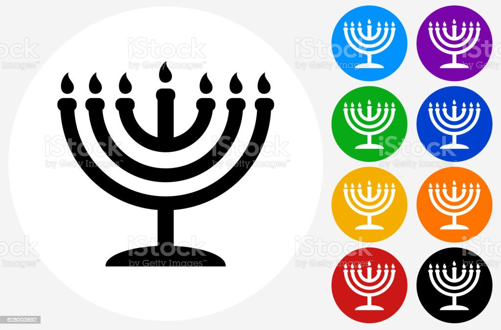 Menorah Icon on Flat Color Circle Buttons vector art illustration
