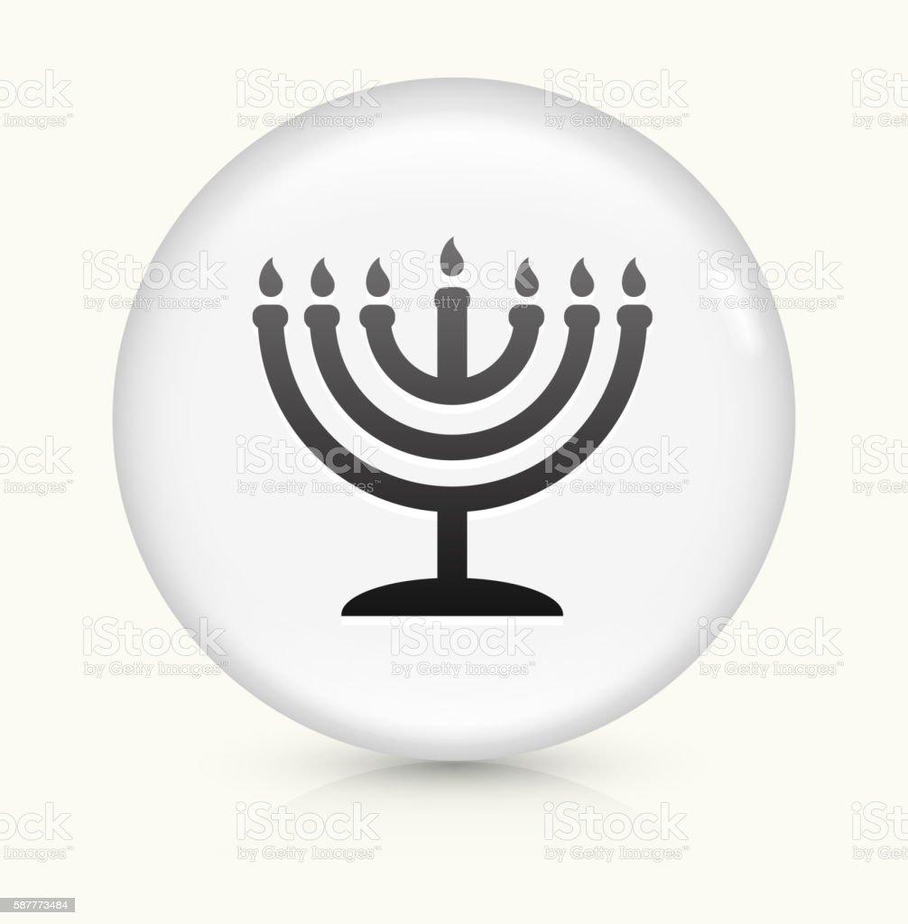 Menorah icon on white round vector button vector art illustration