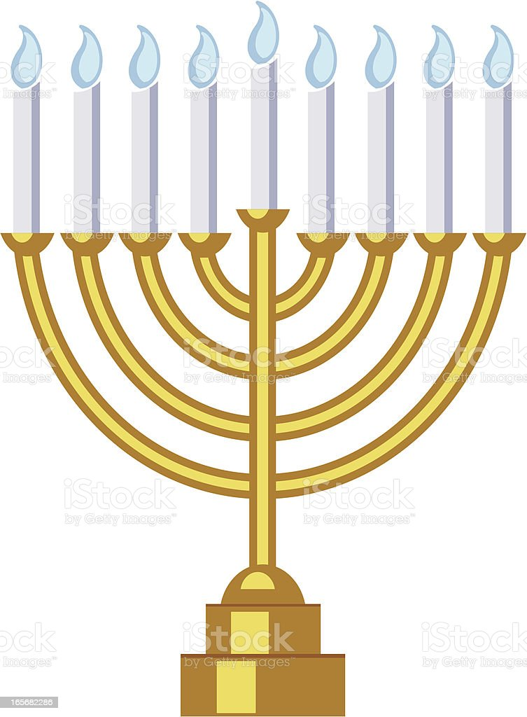 Menorah with Blue Flame Candles royalty-free stock vector art