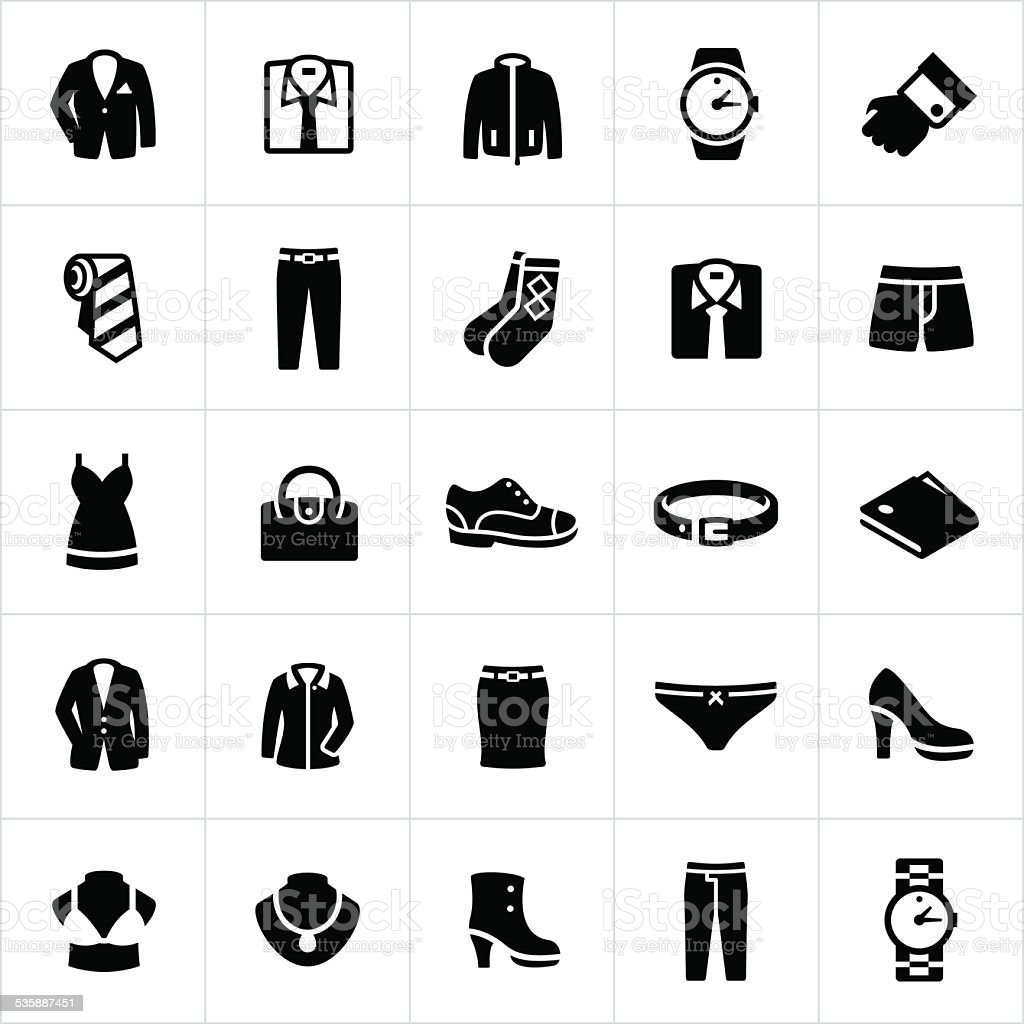 Mens and Womans Formal Wear Icons vector art illustration