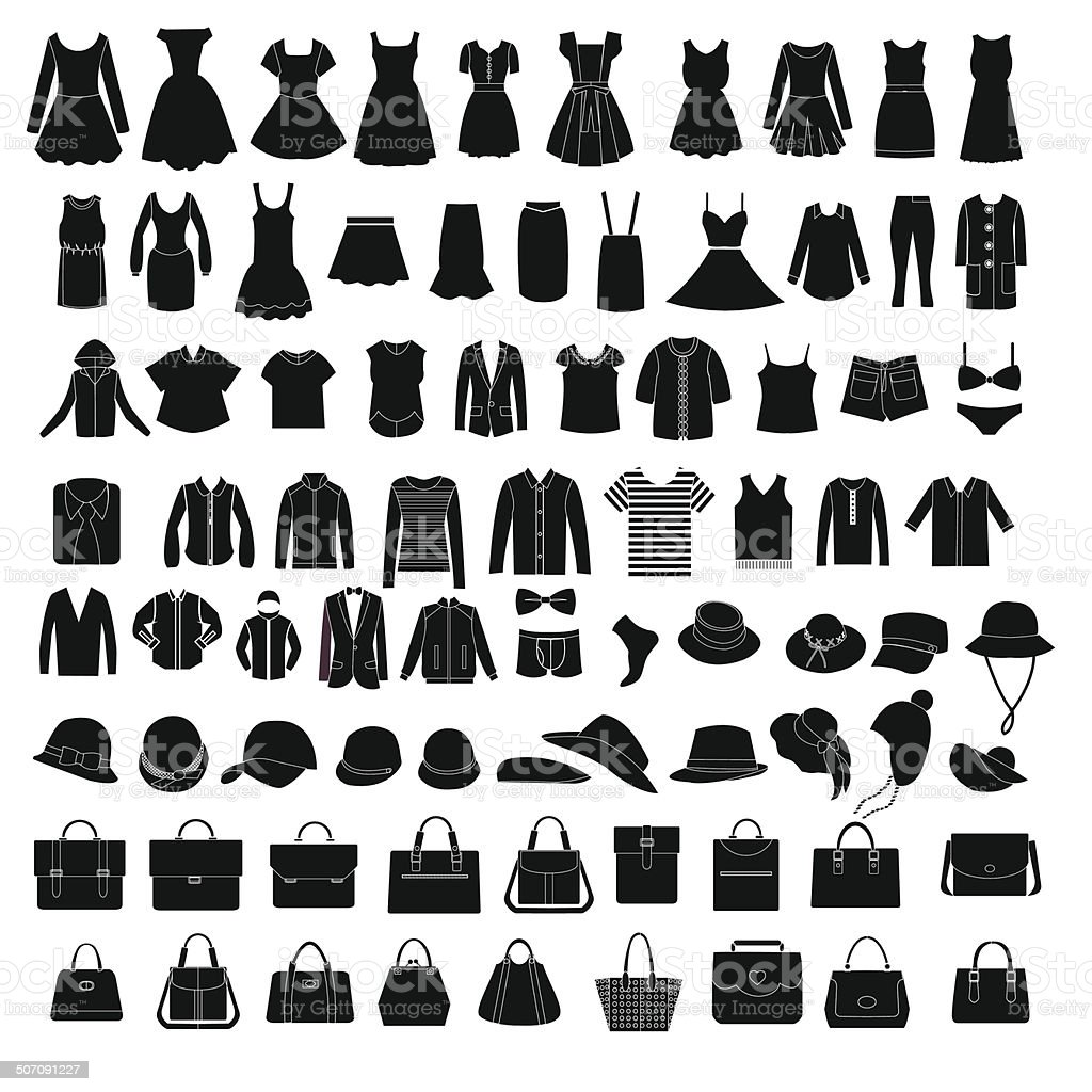 Men's and Women Clothes and accessories  fashion elements - Illustration vector art illustration