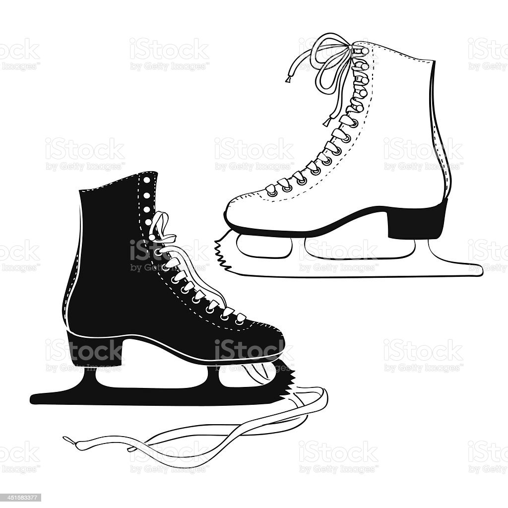 Men's and women 's skates vector art illustration