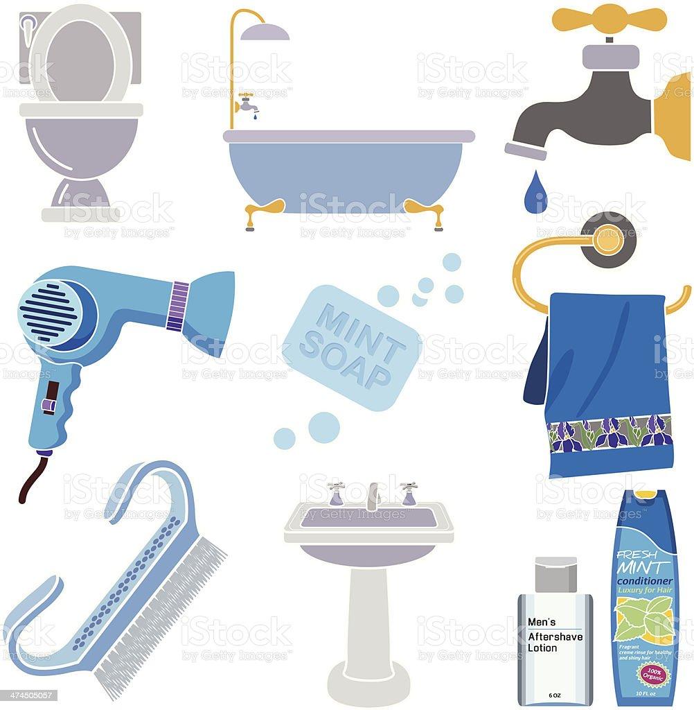 men's bath accessories vector art illustration