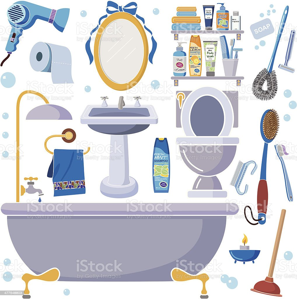 men's bathroom design elements vector art illustration