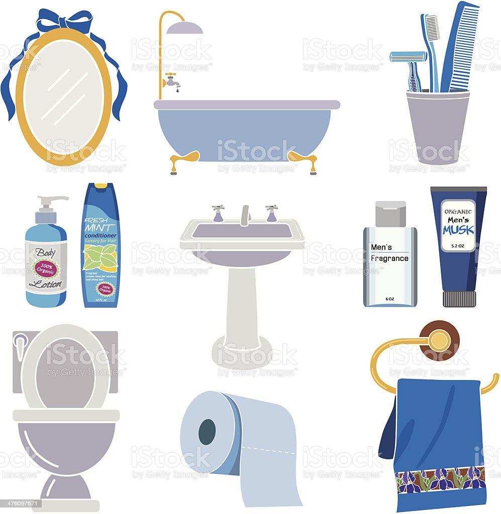 men's bathroom icons in color vector art illustration