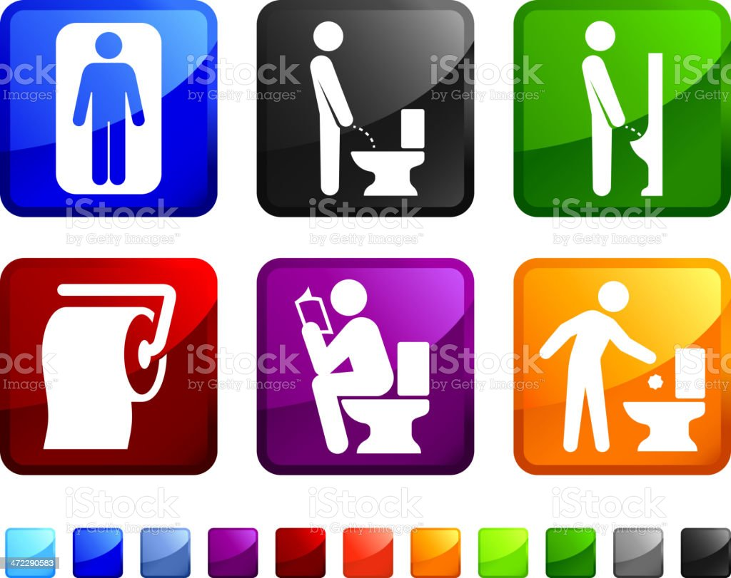 Men's Bathroom royalty free vector icon set stickers vector art illustration