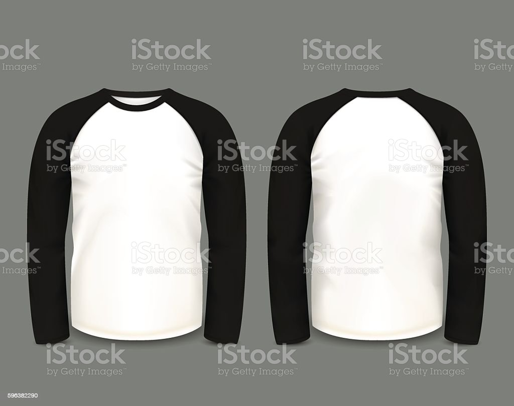 Men's black raglan sweatshirt long sleeve. Vector template. vector art illustration