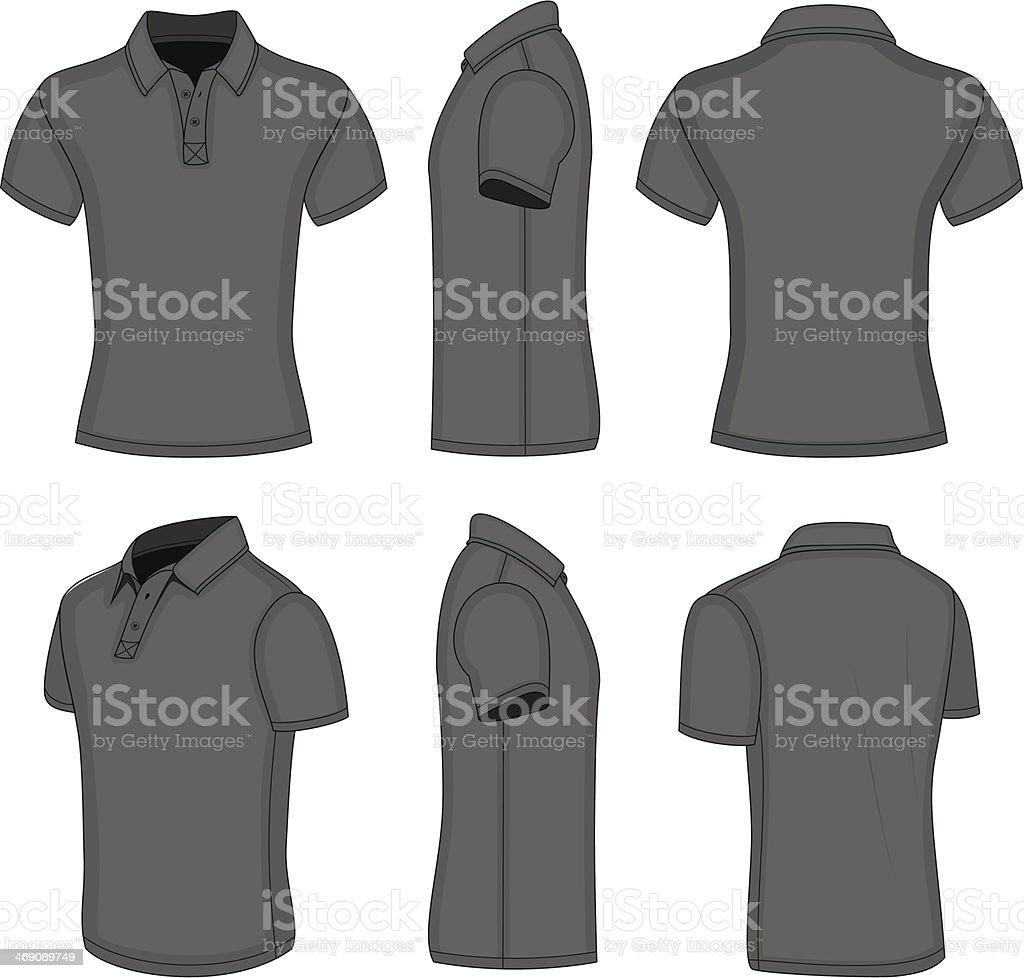 Men's black short sleeve polo shirt vector art illustration
