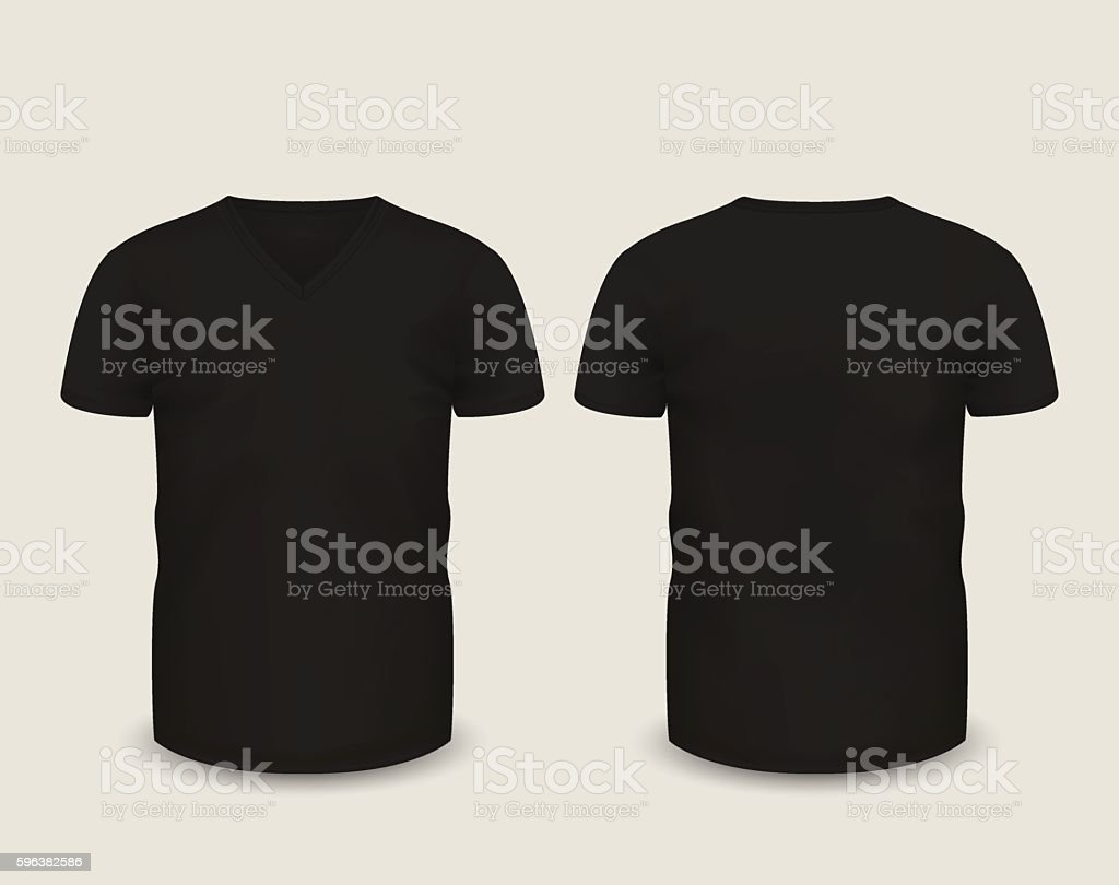 Black t shirt vector - Men S Black V Neck T Shirt Vector Template Royalty Free Stock