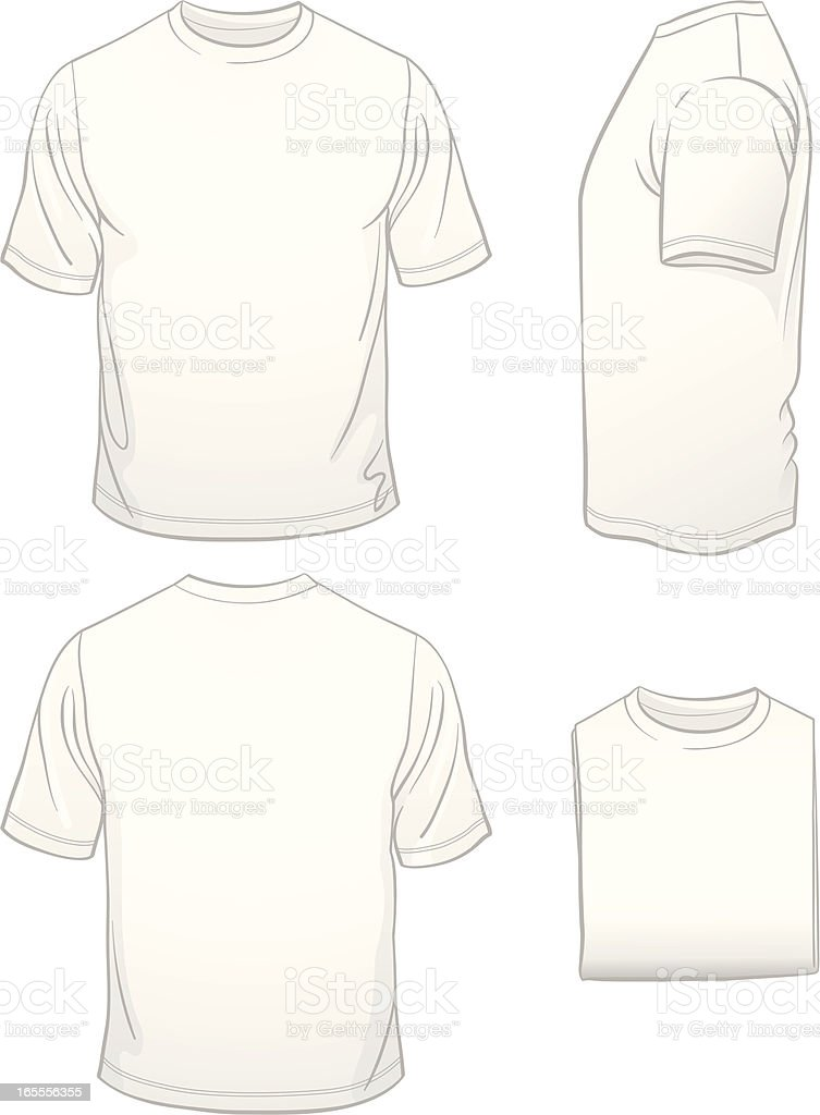 Men's Blank White T-shirt in Four Views royalty-free stock vector art