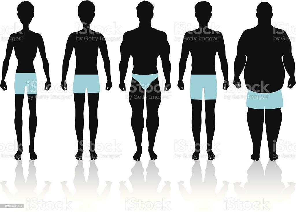 Men's Body Types vector art illustration
