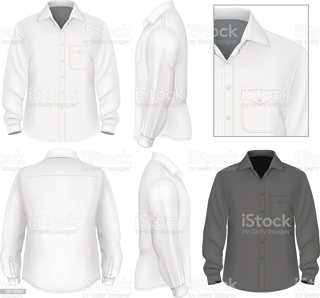 Men's button down shirt long sleeve vector art illustration