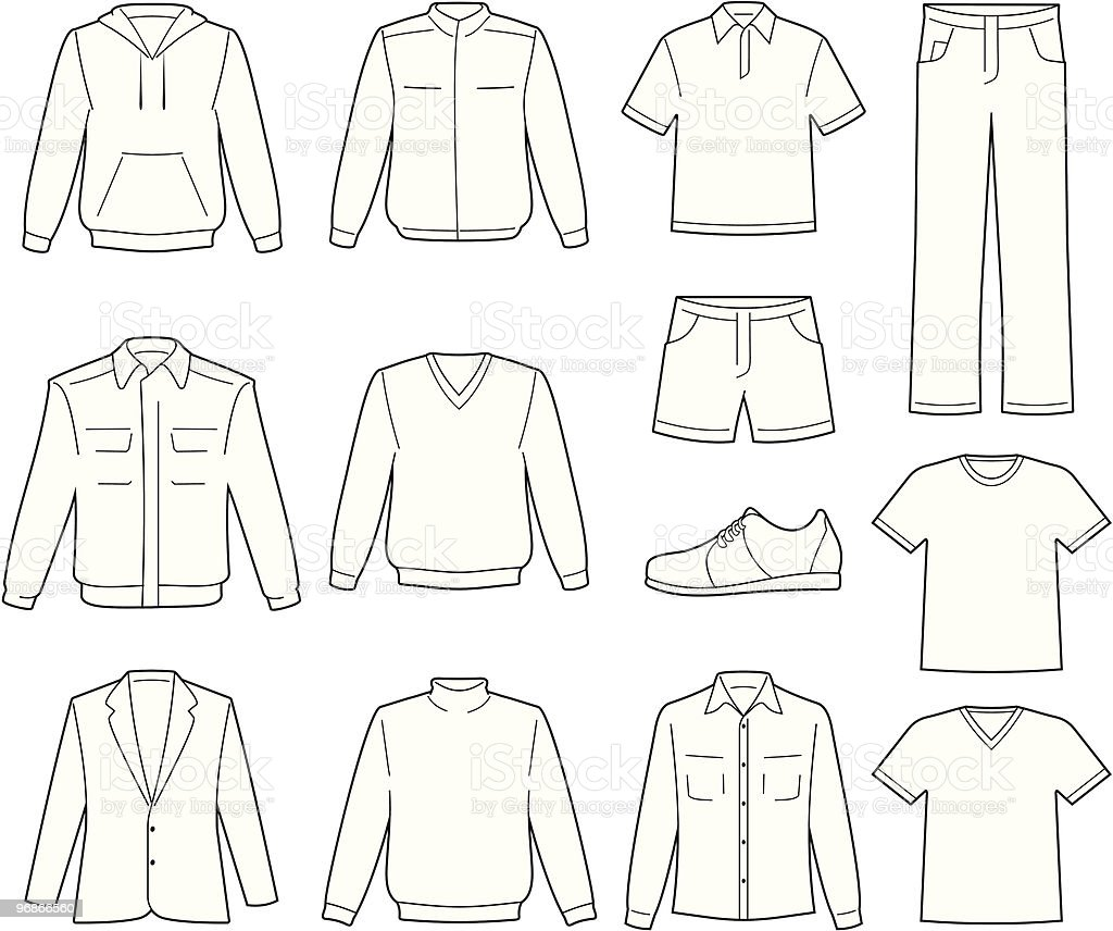 Men's casual clothes illustration royalty-free stock vector art