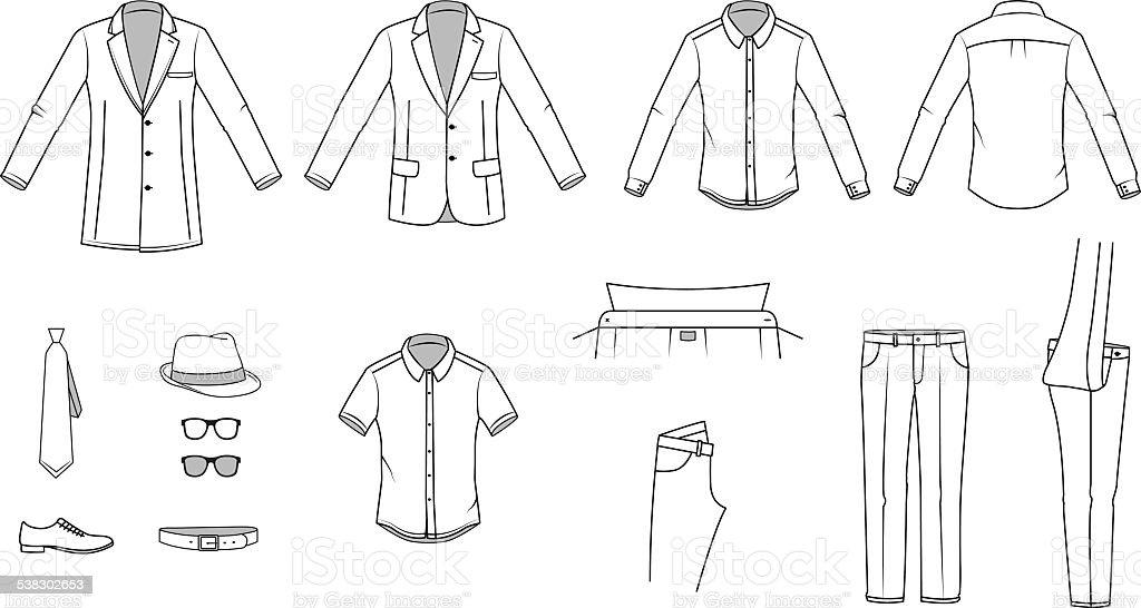 Men's clothes, Garment illustration, Office wear, Accessories, vector vector art illustration