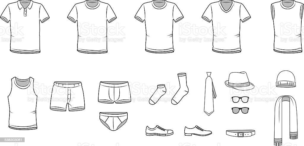 Men's clothes, Garment illustration, Underwear, Accessories, vector vector art illustration