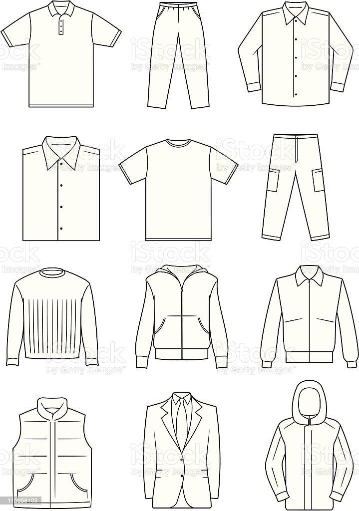 Men's Clothes - Vector Illustration vector art illustration