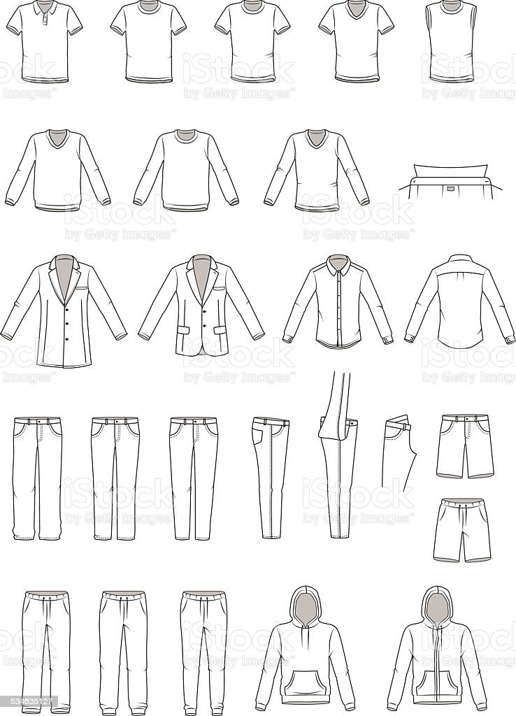 Men's clothing illustration, garment vector art illustration