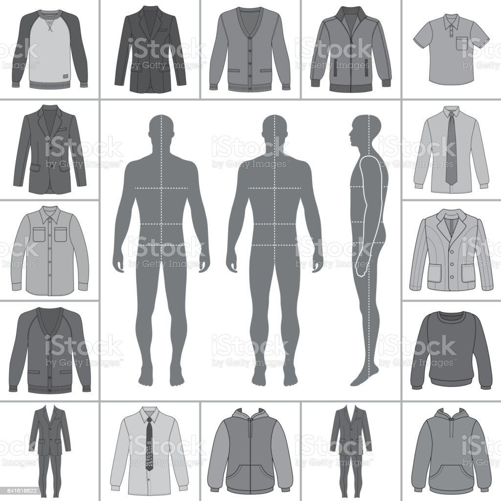 Men's clothing set vector art illustration