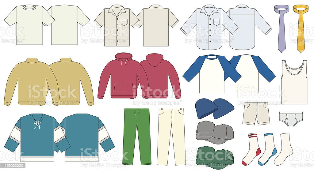 Men's Clothing Template - Vector royalty-free stock vector art