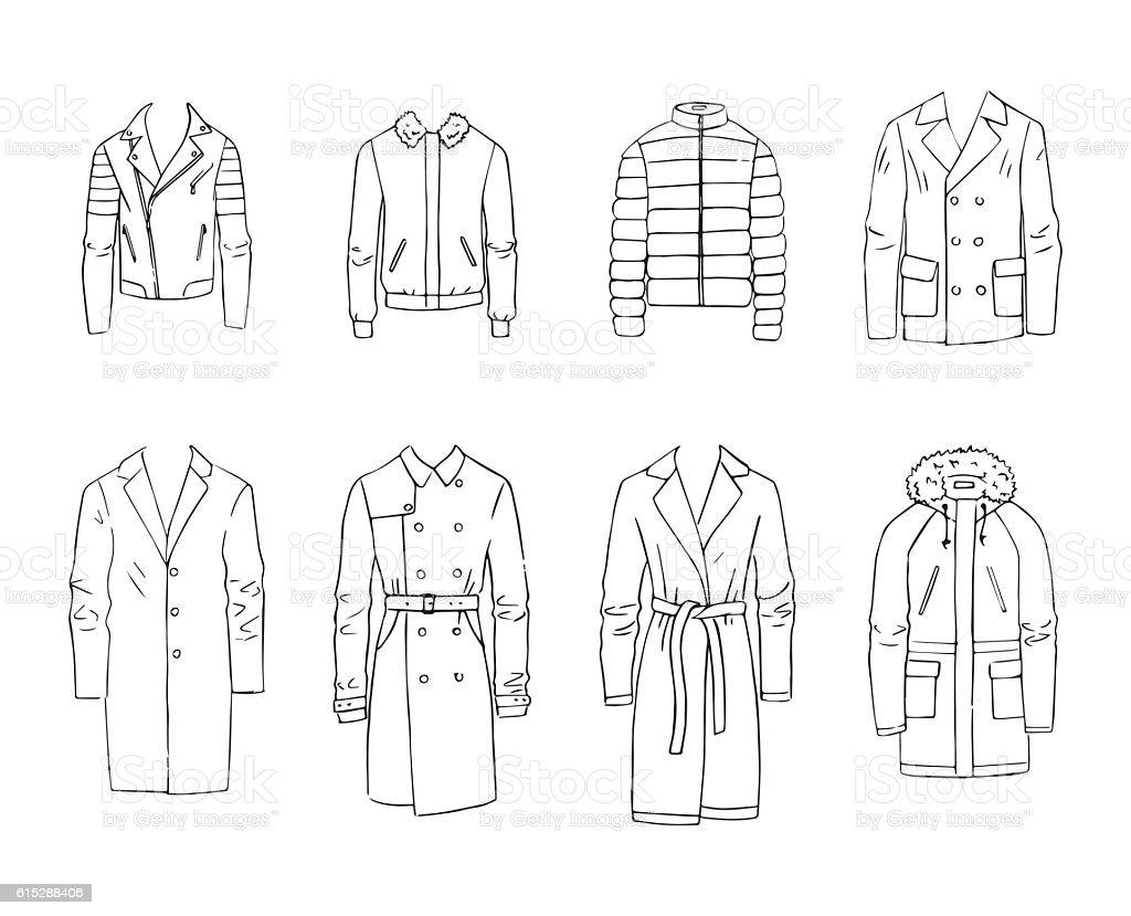 Men's coats vector art illustration