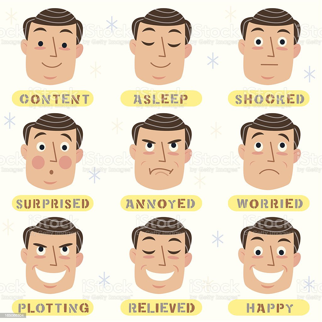Men's Faces vector art illustration