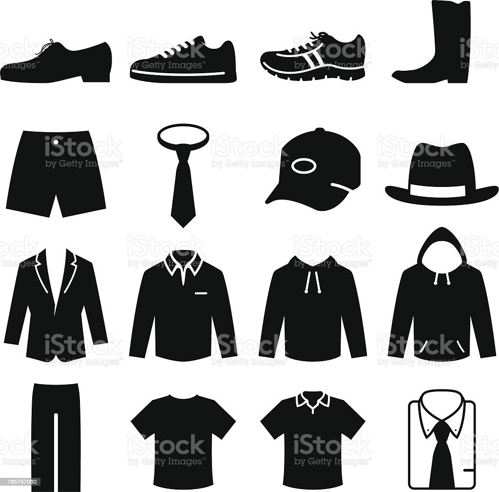 Men's Fashion - Black Series vector art illustration